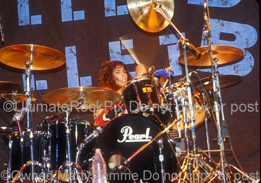 Photos of Drummer Jimmy D'Anda of BulletBoys Performing Onstage at The Forum in Los Angeles, California by Marty Temme
