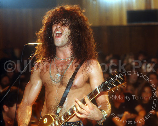 Photo of guitarist Mick Sweda of BulletBoys in concert in 1989 by Marty Temme