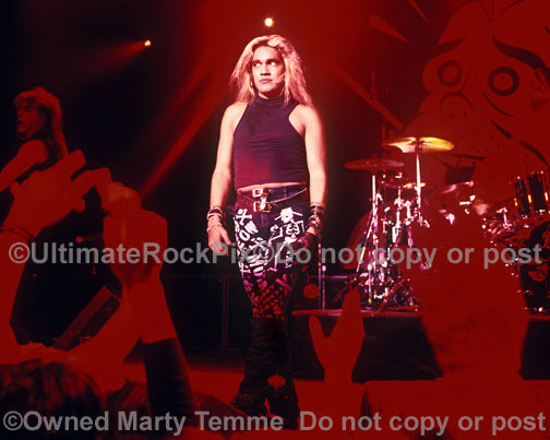 Photo of singer Marq Torien of BulletBoys in concert in 1989 by Marty Temme