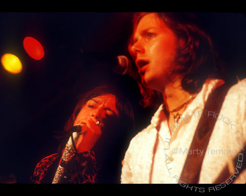 Photo of Chris and Rich Robinson of The Black Crowes in concert by Marty Temme