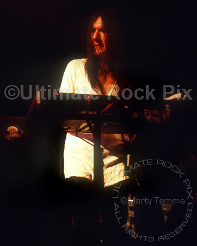 Photo of keyboardist Eddie Harsch of The Black Crowes in concert by Marty Temme