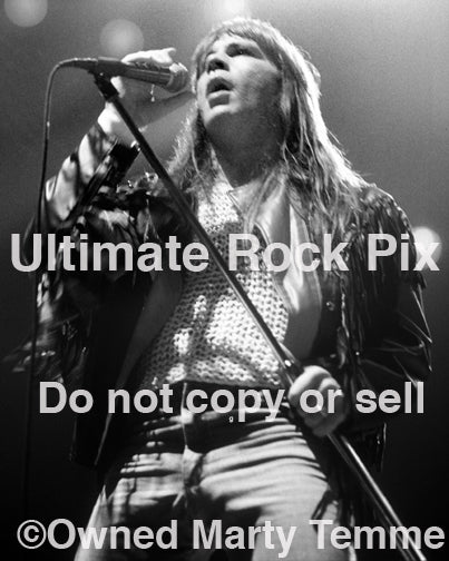 Black and white photo of Bruce Dickinson of Iron Maiden in 1991 by Marty Temme
