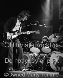 Black and White Photos of Jeff Beck and Carmine Appice in Concert in 1973 by Marty Temme