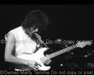Black and White Photos of Jeff Beck Playing a Fender Stratocaster Onstage by Marty Temme