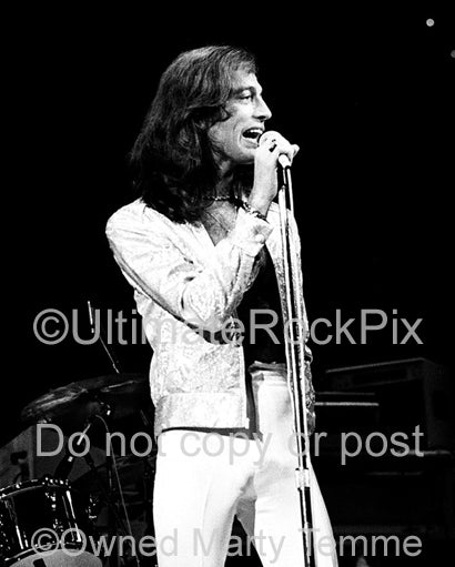 Photo of Robin Gibb of The Bee Gees in concert in 1979 by Marty Temme