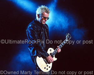 Photos of Guitarist Billy Duffy Playing His Natural Wood Top Gibson Les Paul Custom by Marty Temme