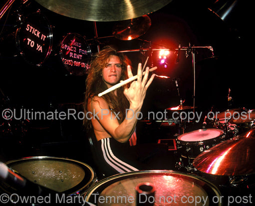 Photo of drummer Blas Elias of Slaughter onstage in Detroit in 1990 by Marty Temme