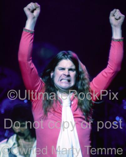 Photos of Ozzy Osbourne of Black Sabbath Raising His Arms to the Crowd in 1978 by Marty Temme