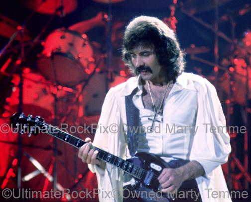 Photos of Tony Iommi of Black Sabbath in Concert in 1978 by Marty Temme
