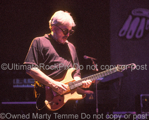 Photo of guitarist Chris Stein of Blondie in concert in 2002 by Marty Temme