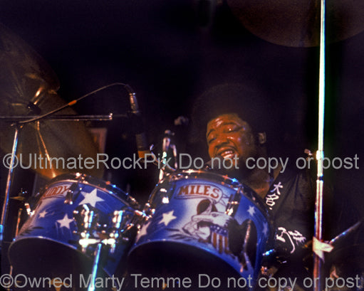Photo of drummer Buddy Miles of Jimi Hendrix and Electric Flag in 1972 by Marty Temme