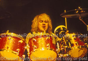 Photos of Drummer Jason Bonham Playing DW Drums in Concert with his Band Bonham in 1990 by Marty Temme