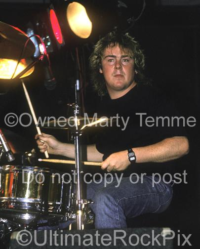 Photos of Drummer Jason Bonham in Concert in 1988 in Los Angeles, California by Marty Temme