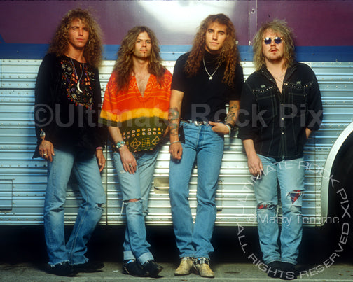 Photo of the band Bonham during a photo shoot by Marty Temme