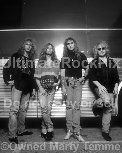 Black and white photo of John Smithson, Ian Hatton, Daniel MacMaster and Jason Bonham of Bonham in 1992 by Marty Temme
