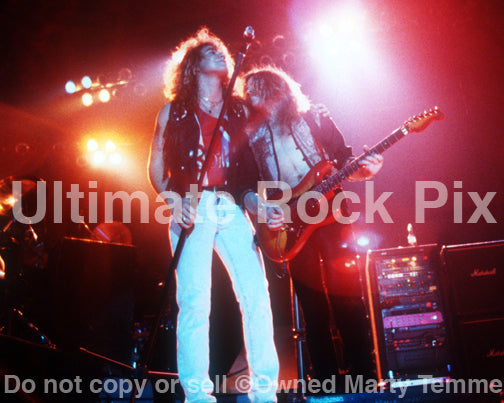 Photo of Daniel MacMaster and Ian Hatton of Bonham in concert in 1990 by Marty Temme