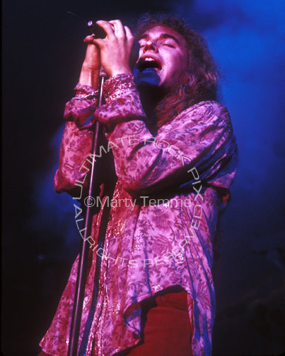 Photo of singer Daniel MacMaster of Bonham in concert in 1992 by Marty Temme