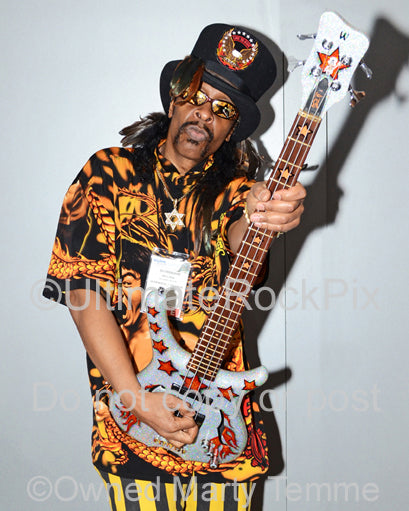 Photo of bass player Bootsy Collins during a photo shoot in 2012 by Marty Temme