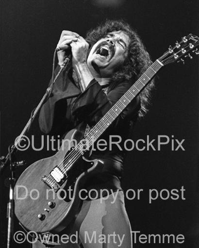 Photos of Vocalist Brad Delp of the Band Boston Performing Onstage in 1979 by Marty Temme