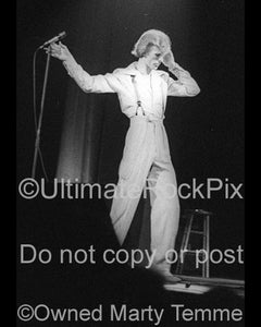 Black and white photo of David Bowie onstage in 1974 by Marty Temme