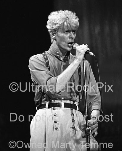Black and white photo of David Bowie in concert in 1983 by Marty Temme