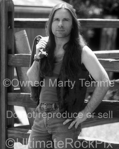 Black and white photo of singer Bruce Dickinson during a photo shoot in 1994 by Marty Temme
