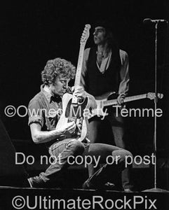 Black and White Photos of Musician Bruce Springsteen Playing His Fender Telecaster in Concert in 1978 by Marty Temme