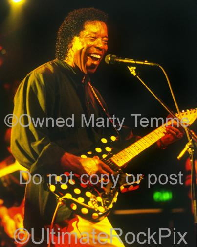 Photos of Guitarist Buddy Guy Playing a Fender Stratocaster in Concert by Marty Temme