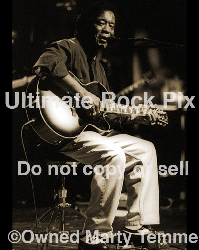Art print photo of blues guitar player Buddy Guy in concert in 2001 by Marty Temme