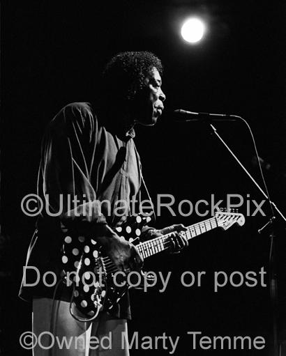Black and White Photos of Blues Guitar Player Buddy Guy Playing a Fender Stratocaster in Concert by Marty Temme
