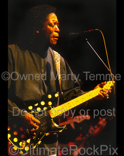 Photo of Buddy Guy playing a polkadot Fender Stratocaster in concert by Marty Temme