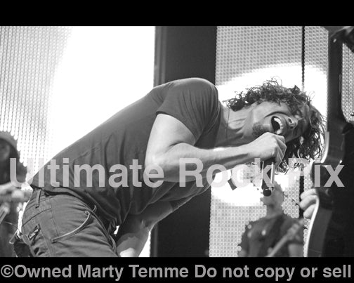 Black and white photo of Chris Cornell of Soundgarden in concert in 2008 by Marty Temme