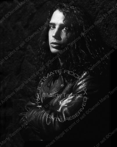Black and white photo of Chris Cornell of Soundgarden during a photo shoot in 1989 by Marty Temme