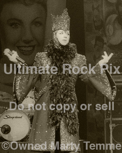 Black and white sepia tint photo of Boy George of Culture Club in concert by Marty Temme
