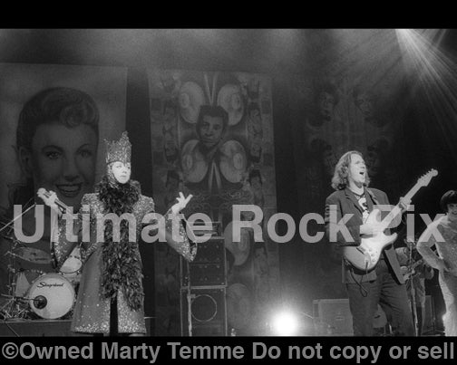 Black and white photo of Boy George and Roy Hay of Culture Club in concert in 1999 by Marty Temme