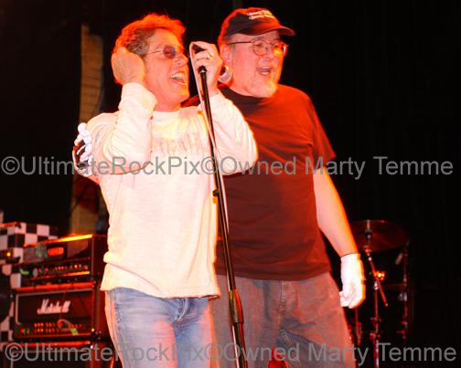 Photos of Roger Daltrey of The Who and Bun E. Carlos of Cheap Trick Standing Together Onstage by Marty Temme