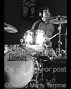 Photo of drummer Clem Burke of Blondie in concert in 2002 by Marty Temme