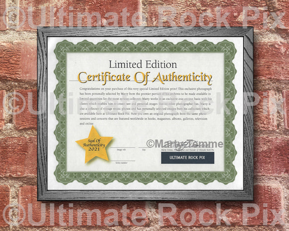 Ultimate Rock Pix Limited Edition Certificate of Authenticity