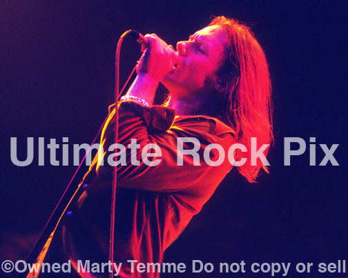 Photo of singer Robert Mason of Cry of Love in concert by Marty Temme