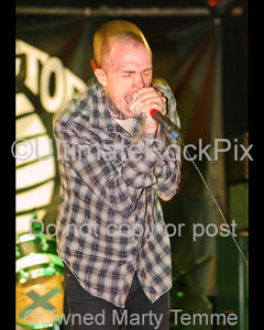 Photo of singer Jacob Bannon of Converge performing onstage in 2008 by Marty Temme