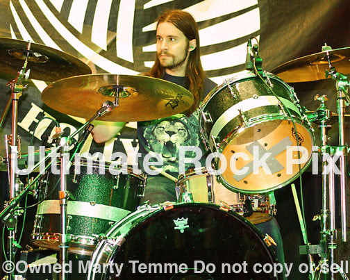 Photo of drummer Ben Koller of Converge onstage in 2008 by Marty Temme