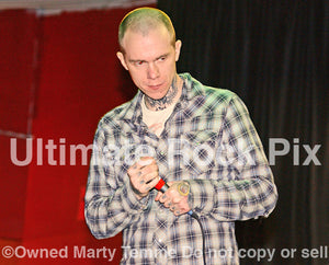 Photo of singer Jacob Bannon of Converge onstage in 2008 by Marty Temme