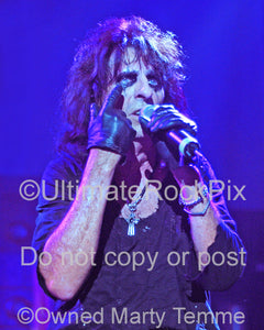 Photo of Alice Cooper performing in concert in 2006 by Marty Temme