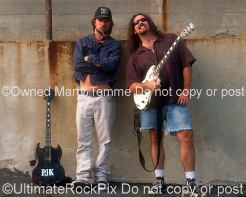 Photo of Pepper Keenan and Woody Weatherman of Corrosion of Conformity during a photo shoot in 1997 by Marty Temme