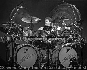 Black and white photo of Carl Palmer of Emerson, Lake & Palmer in concert in 1992 by Marty Temme