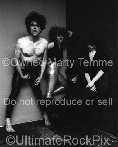 Black and white photo of The Cramps backstage in 1979 by Marty Temme