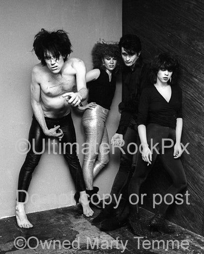 Black and white photo of The Cramps during a photo shoot in 1979 by Marty Temme