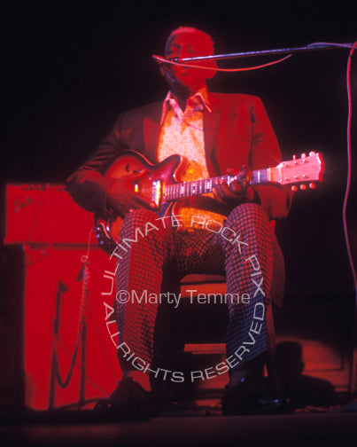 Photo of musician Arthur Crudup in concert in 1974 by Marty Temme