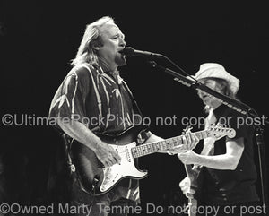Black and white photo of Stephen Stills of CSNY in concert in 2002 by Marty Temme