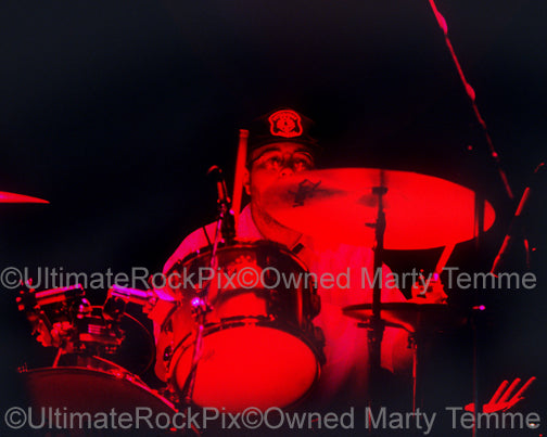 Photo of drummer Bun E. Carlos of Cheap Trick in concert in 1997 by Marty Temme